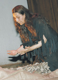 Shatha Salim as the Mother in the 2007 production of The Wild Wedding in Jordan and Baghdad in 2007. Photo credit: Falah Shaker.