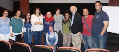 "Students in the ""Writing from the Thinking Heart"" playwriting workshop, with translator, Effat Ariat, George Bartenieff, and Karen Malpede."