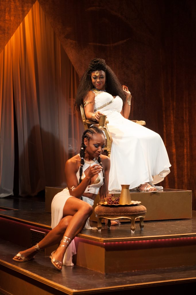 Sheria Irving as Senenmut, April Yvette Thompson as Hatshepsut, Photo Credit: Harlem Classical Theatre